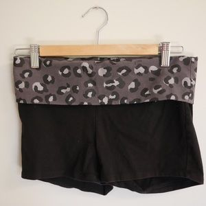 PINK black and grey leopard print yoga shorts